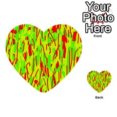 Green And Red Pattern Multi Purpose Cards (heart)  by Valentinaart