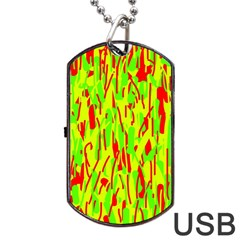Green And Red Pattern Dog Tag Usb Flash (two Sides)  by Valentinaart