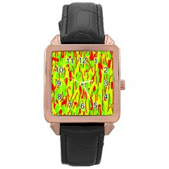 Green And Red Pattern Rose Gold Leather Watch  by Valentinaart