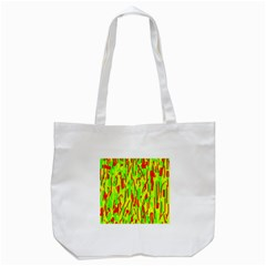 Green And Red Pattern Tote Bag (white) by Valentinaart