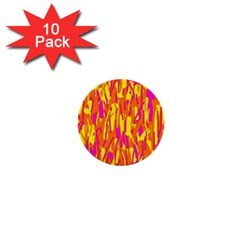 Pink And Yellow Pattern 1  Mini Buttons (10 Pack)  by Valentinaart