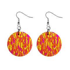 Pink And Yellow Pattern Mini Button Earrings by Valentinaart
