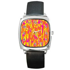 Pink And Yellow Pattern Square Metal Watch by Valentinaart