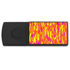 Pink And Yellow Pattern Usb Flash Drive Rectangular (4 Gb)  by Valentinaart