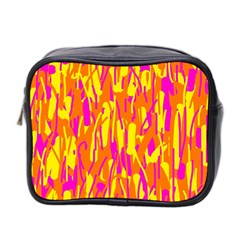 Pink And Yellow Pattern Mini Toiletries Bag 2 Side by Valentinaart