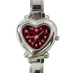 Black And Red Pattern Heart Italian Charm Watch by Valentinaart