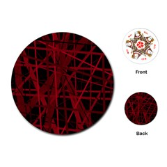 Black And Red Pattern Playing Cards (round)  by Valentinaart
