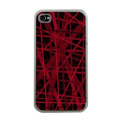 Black And Red Pattern Apple Iphone 4 Case (clear) by Valentinaart