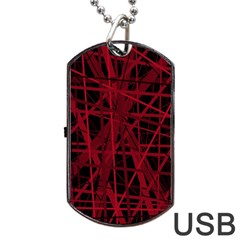 Black and red pattern Dog Tag USB Flash (Two Sides)  by Valentinaart