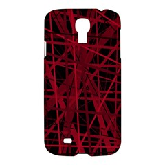 Black And Red Pattern Samsung Galaxy S4 I9500/i9505 Hardshell Case by Valentinaart