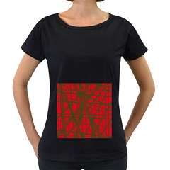 Red Pattern Women s Loose Fit T Shirt (black) by Valentinaart