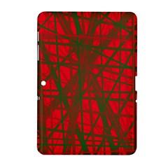 Red Pattern Samsung Galaxy Tab 2 (10 1 ) P5100 Hardshell Case  by Valentinaart