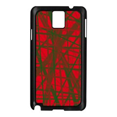 Red Pattern Samsung Galaxy Note 3 N9005 Case (black) by Valentinaart
