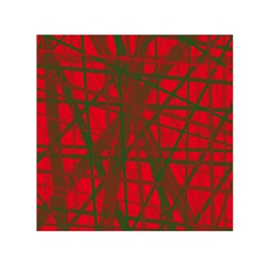 Red Pattern Small Satin Scarf (square) by Valentinaart