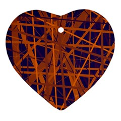 Blue And Orange Pattern Ornament (heart)  by Valentinaart
