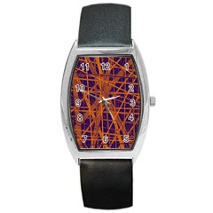 Blue And Orange Pattern Barrel Style Metal Watch by Valentinaart