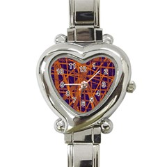 Blue And Orange Pattern Heart Italian Charm Watch