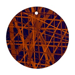 Blue And Orange Pattern Round Ornament (two Sides)  by Valentinaart