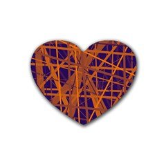 Blue And Orange Pattern Rubber Coaster (heart)  by Valentinaart