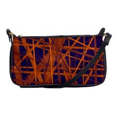 Blue And Orange Pattern Shoulder Clutch Bags by Valentinaart
