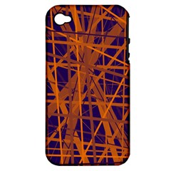 Blue And Orange Pattern Apple Iphone 4/4s Hardshell Case (pc+silicone) by Valentinaart