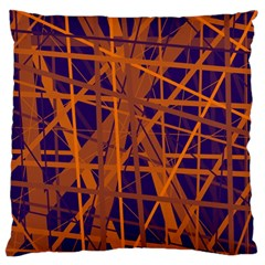 Blue And Orange Pattern Large Flano Cushion Case (one Side) by Valentinaart