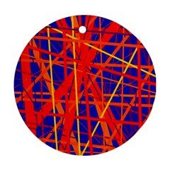 Orange And Blue Pattern Ornament (round)  by Valentinaart