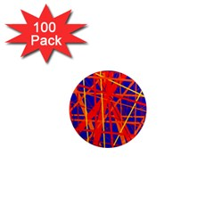 Orange And Blue Pattern 1  Mini Magnets (100 Pack)  by Valentinaart