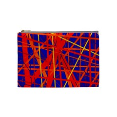 Orange And Blue Pattern Cosmetic Bag (medium)  by Valentinaart