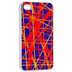 Orange And Blue Pattern Apple Iphone 4/4s Seamless Case (white) by Valentinaart