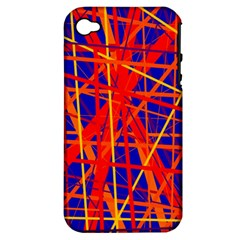 Orange And Blue Pattern Apple Iphone 4/4s Hardshell Case (pc+silicone) by Valentinaart