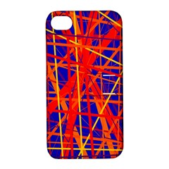 Orange And Blue Pattern Apple Iphone 4/4s Hardshell Case With Stand by Valentinaart