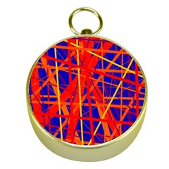 Orange And Blue Pattern Gold Compasses by Valentinaart