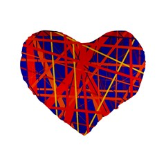 Orange And Blue Pattern Standard 16  Premium Flano Heart Shape Cushions by Valentinaart