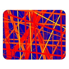 Orange And Blue Pattern Double Sided Flano Blanket (large)  by Valentinaart