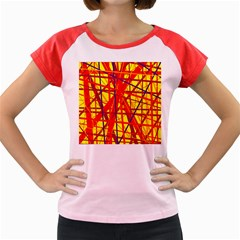 Yellow And Orange Pattern Women s Cap Sleeve T Shirt by Valentinaart