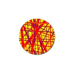 Yellow And Orange Pattern Golf Ball Marker (4 Pack) by Valentinaart