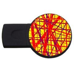 Yellow And Orange Pattern Usb Flash Drive Round (2 Gb)  by Valentinaart