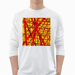 Yellow And Orange Pattern White Long Sleeve T Shirts by Valentinaart