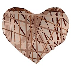 Brown Pattern Large 19  Premium Heart Shape Cushions by Valentinaart