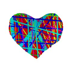 Colorful Pattern Standard 16  Premium Heart Shape Cushions by Valentinaart