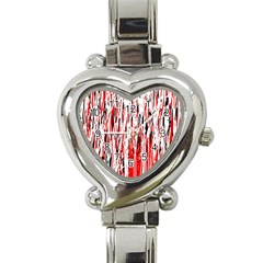 Red, Black And White Pattern Heart Italian Charm Watch by Valentinaart