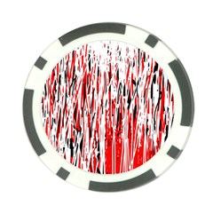 Red, Black And White Pattern Poker Chip Card Guards by Valentinaart