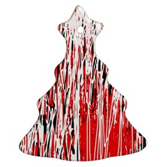 Red, Black And White Pattern Christmas Tree Ornament (2 Sides) by Valentinaart