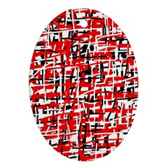 Red, White And Black Pattern Ornament (oval)  by Valentinaart