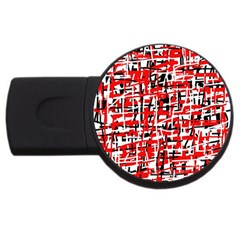 Red, White And Black Pattern Usb Flash Drive Round (4 Gb)  by Valentinaart