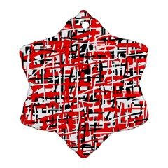 Red, White And Black Pattern Ornament (snowflake)  by Valentinaart