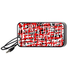 Red, White And Black Pattern Portable Speaker (black)  by Valentinaart