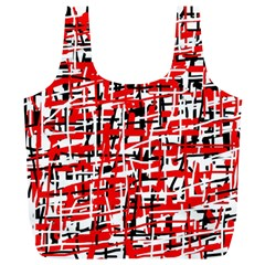 Red, White And Black Pattern Full Print Recycle Bags (l)  by Valentinaart