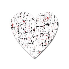 Red, White And Black Pattern Heart Magnet by Valentinaart